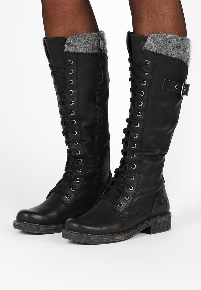 Marco Tozzi Lace Up Boots Black Zalando Co Uk Boots Lace Up Boots Black Boots
