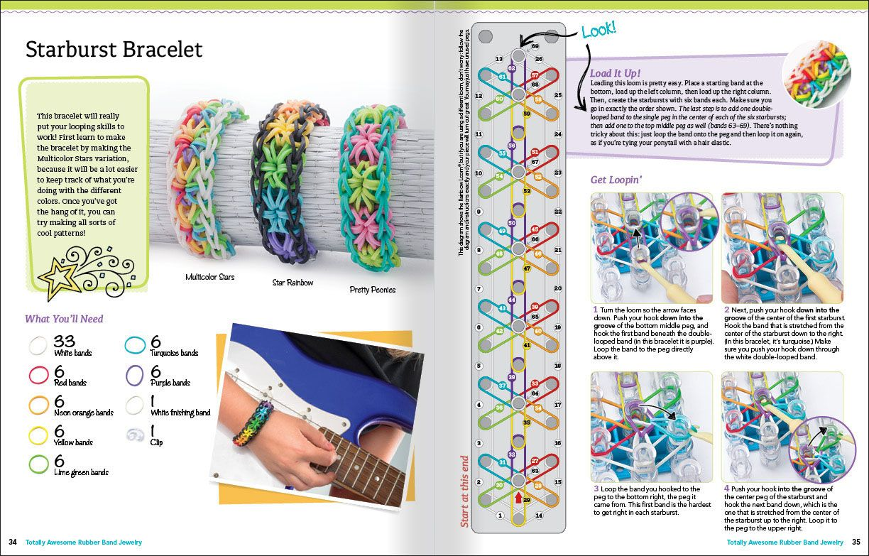 banda loom patterns to print out for free | Sample pages from Totally  Awesome Rubber Band Jewelry, a new book tied .