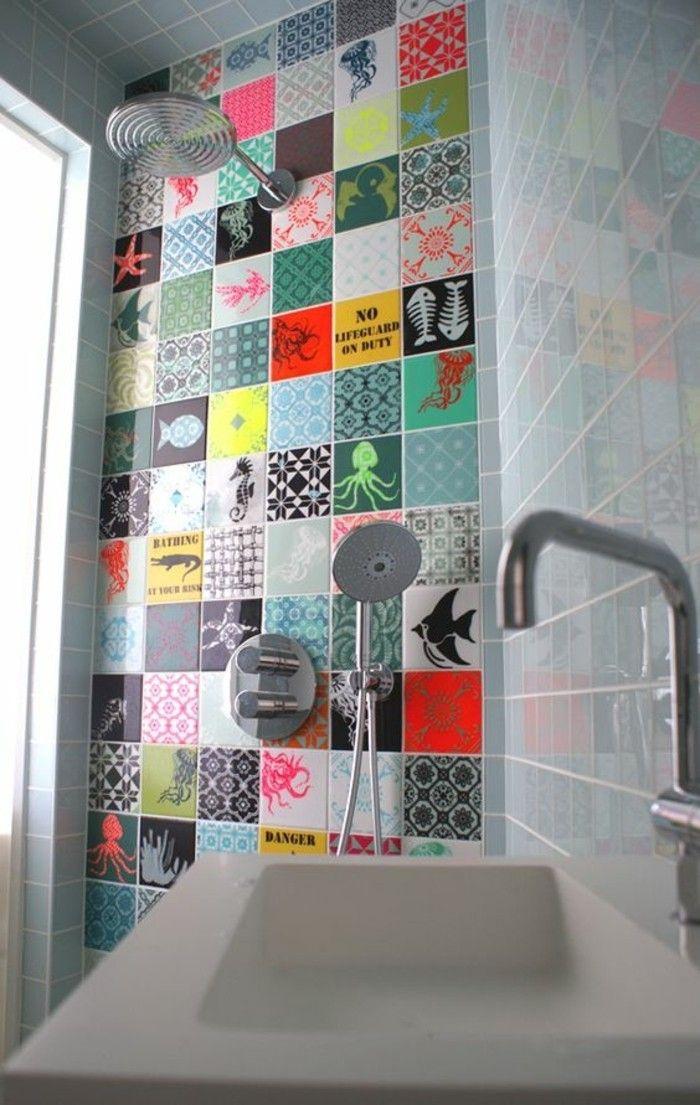 carrelage patchwork, carreaux originaux au mir de la salle de bains