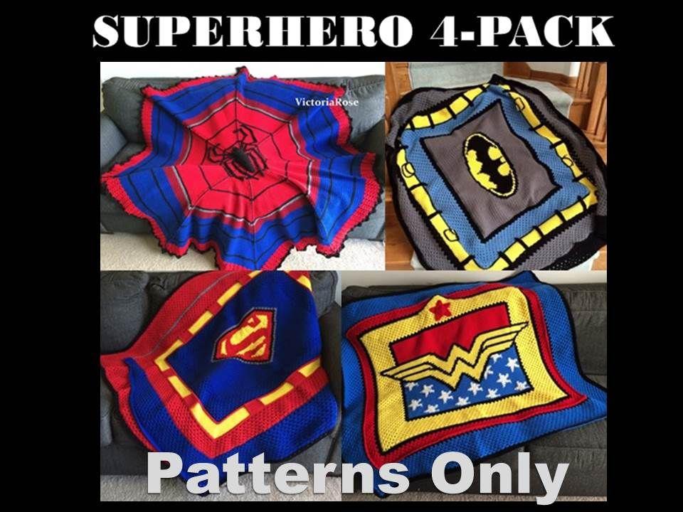 Crochet Batman Superhero 4 pack of patterns | Duerme y Tejido