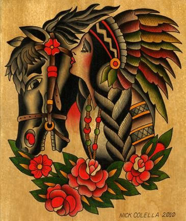 American traditional native girl with horse tattoos for Horse tattoo traditional