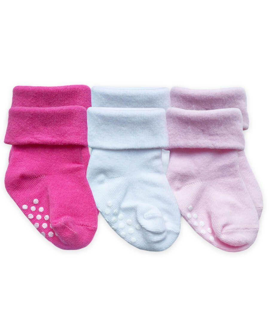 Unisex Kids Non Skid Turn Cuff Soft Cotton Socks for Baby Toddler Boys Girls