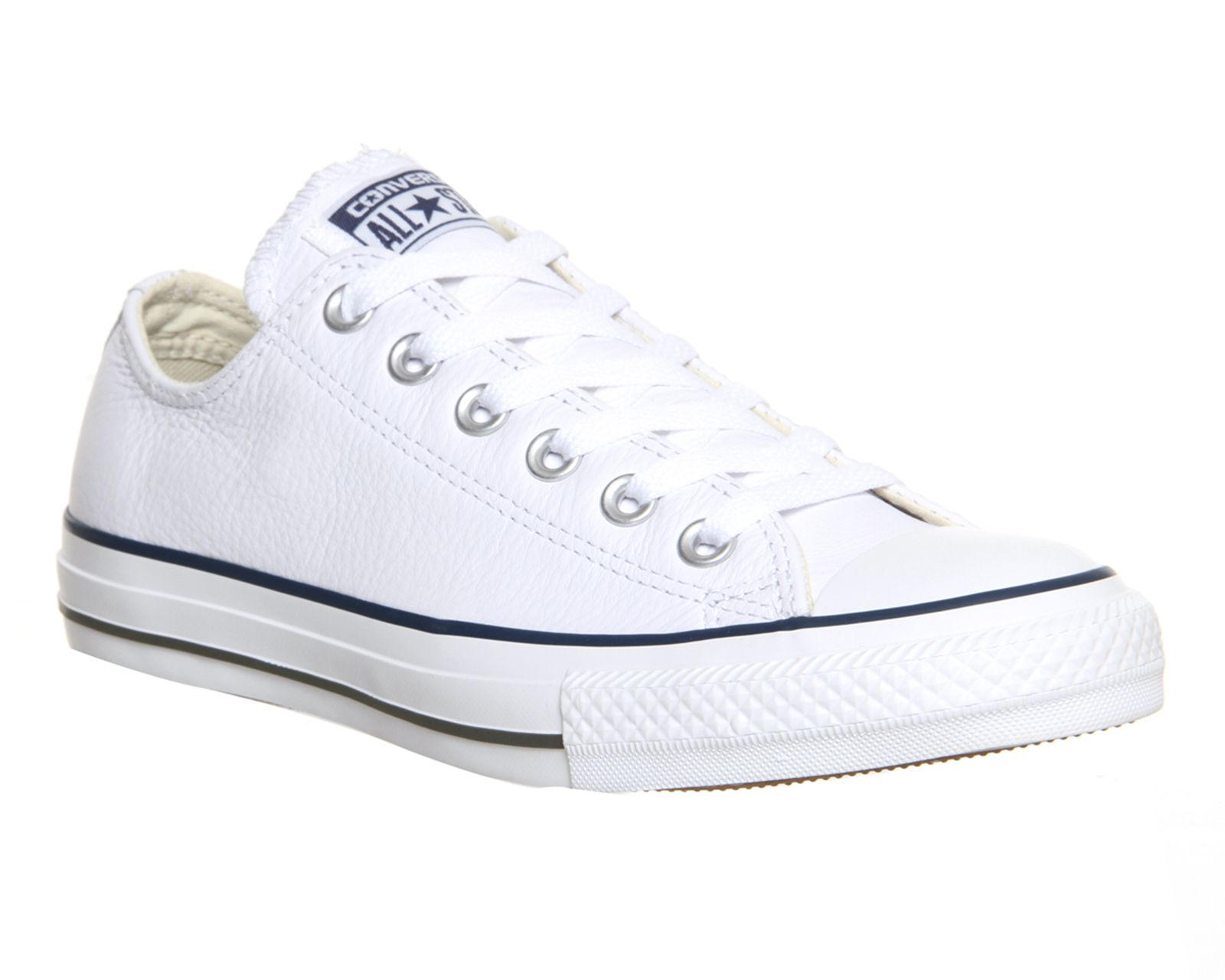 Buy White Navy Exclusive Converse All Star Low Leather from OFFICE.co.uk.