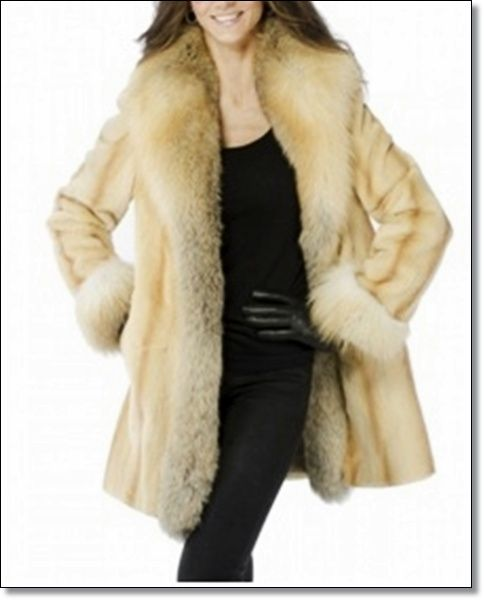 73ff657ab3b1e Sheared Mink Coat with Golden Island Fox Styling  Beige Color Sheared Mink  body Golden Island Fox Border Included Shawl Collar and Cuff 2 Side Pockets  Below ...
