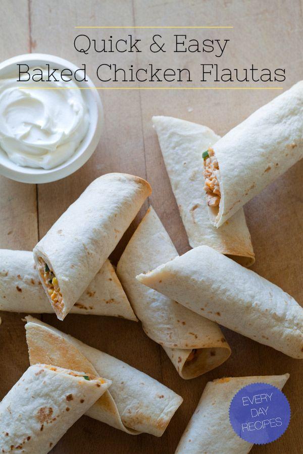 Baked Chicken Flautas--use black beans instead of chicken