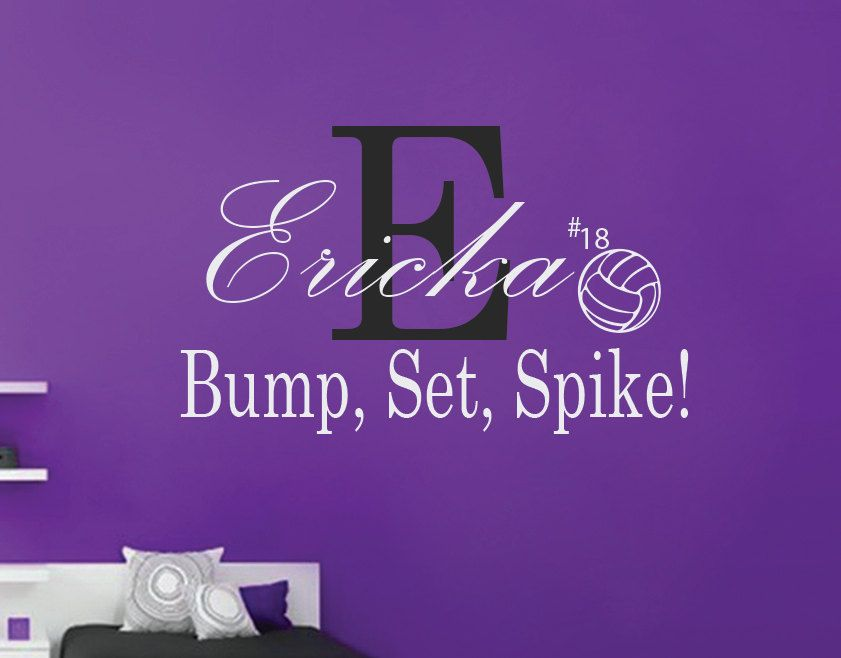 Personalized Girls Volleyball Wall DecalBump Set SpikeVolleyball - Vinyl volleyball wall decals