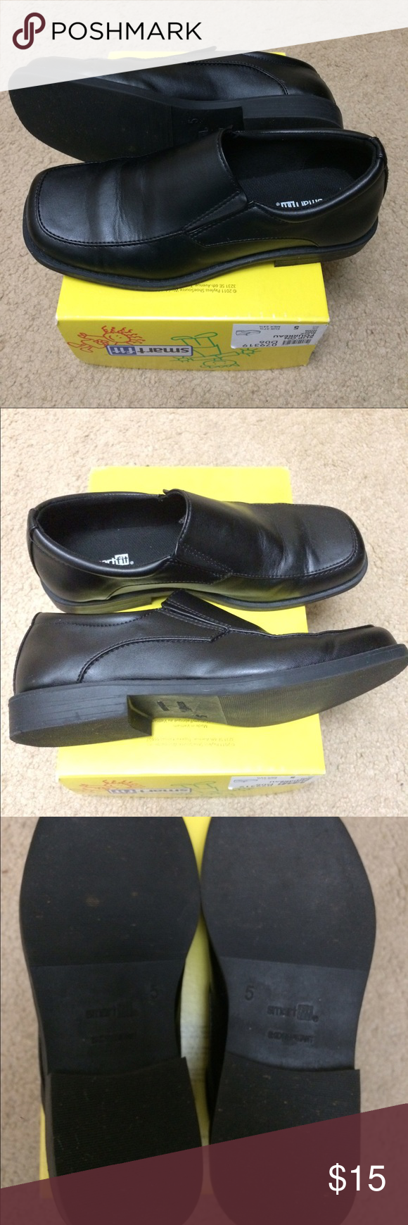 Black SmartFit Slip On Fourreau Dress Shoes Size 5 This is a pair of boys Black SmartFit Slip On Fourreau Dress Shoes Size 5 in excellent condition. Worn once to a wedding, there is very little wear. Please see all pics. Has box but not lid. Perfect for the holidays, church, a wedding or any dress up occasion.  Clean, pet and smoke free home. Thank you! Shoes Dress Shoes