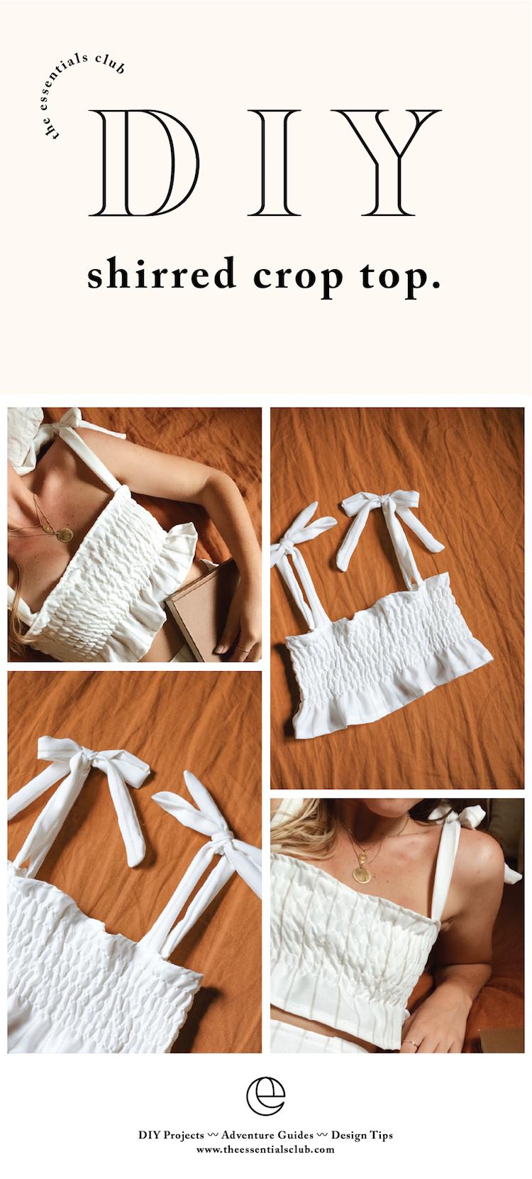 DIY: Shirred Crop Top with Tie Straps #diyclothes