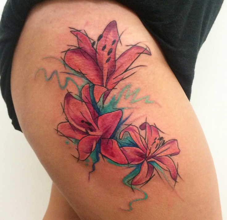 pink lily tattoos by darren bishop glasgow uk tattoo pinterest tattoo lily tattoo. Black Bedroom Furniture Sets. Home Design Ideas