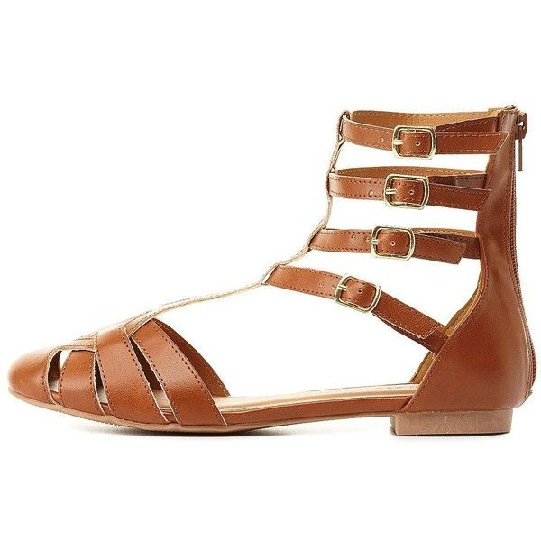 df9c13ab2508 Charlotte Russe Qupid T-Strap Gladiator Sandals (£7.03) ❤ liked on Polyvore  featuring shoes