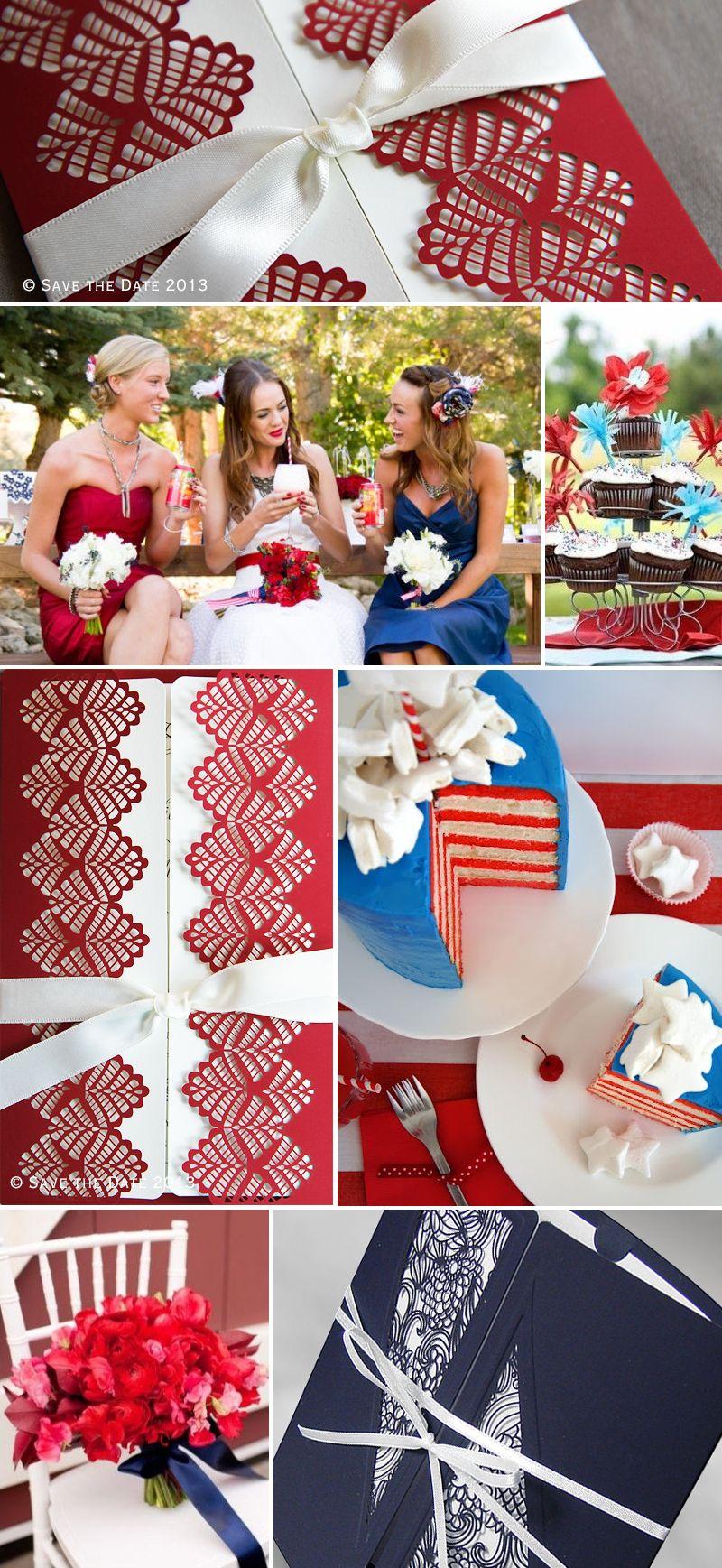 4th of July inspired laser cut wedding invitations   US   Pinterest ...