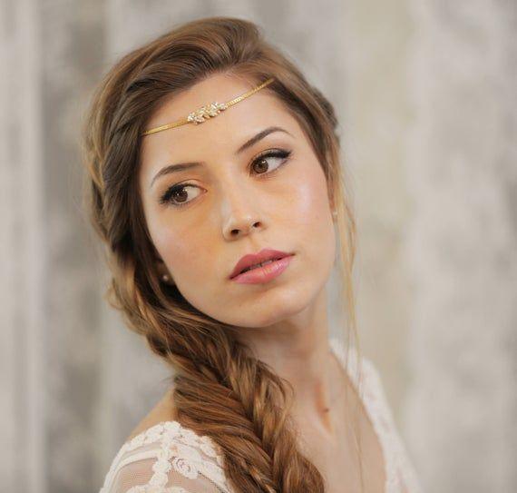 Bridal Head Chain, Boho Bridal Headband, Bridal Headpiece, Boho Head Piece, Bridal Forehead Band, Wedding Hair Accessory, Bridal Hairband