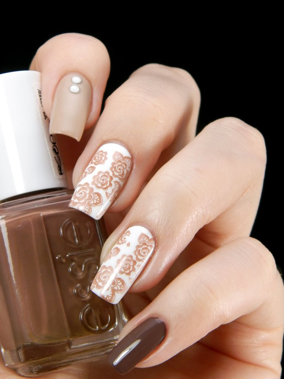 Nude Nails with wHite accent nail with nude rose design and one nail ...
