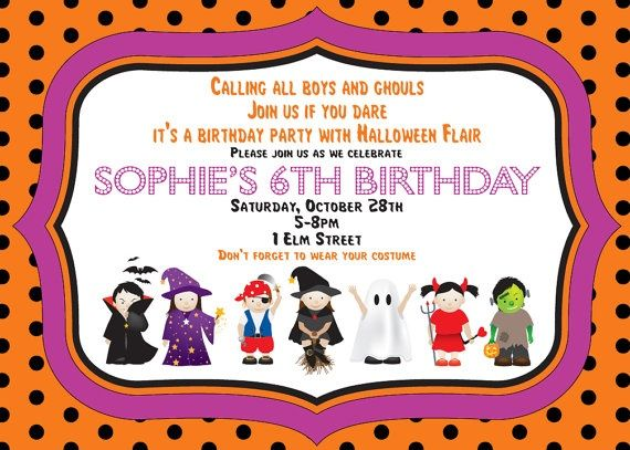 halloween costume birthday party invitation invitation inspiration - Baby Halloween Birthday Party