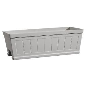 Hanover 27 in. White Resin Beadboard Deck Rail Planter ... on post planters home depot, window planters home depot, vertical garden home depot, brick planters home depot, plant pots home depot, trellis planters home depot, patio planters home depot,