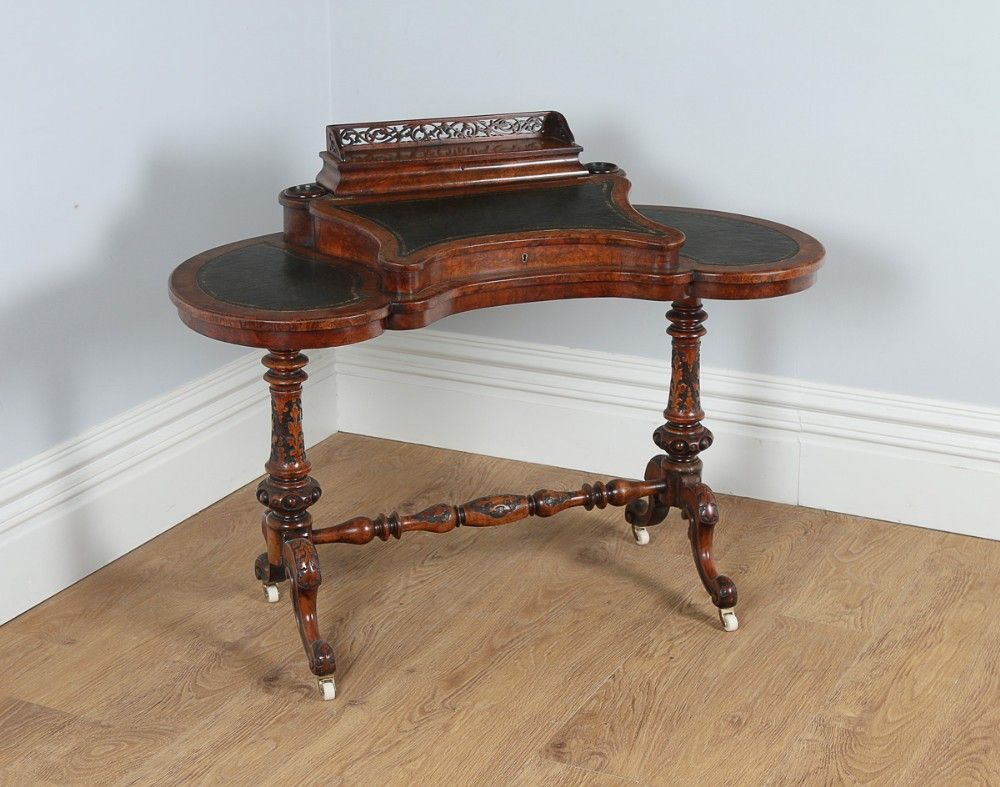 Victorian English Burr Walnut Kidney Shaped Leather Ladies Writing Table  Office Desk (Circa 1860) - Victorian English Burr Walnut Kidney Shaped Leather Ladies Writing