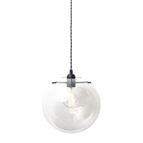Lampa AURORA klar. Ø30 cm. Hängande lampa i glas.  Texilkabel 2 m med…