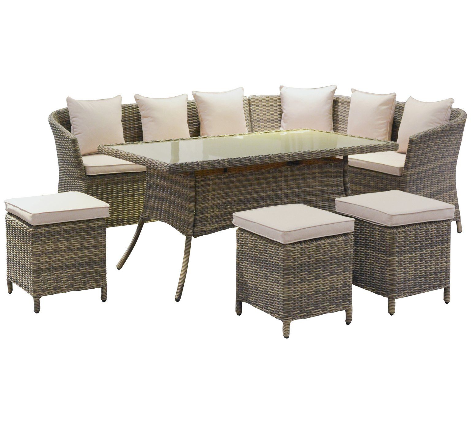 Buy Rattan Effect 8 Seater Corner Sofa Dining Table And Stools At Argos Co Uk Visit Argos Co Uk To Outdoor Furniture Sets Garden Table And Chairs Corner Sofa