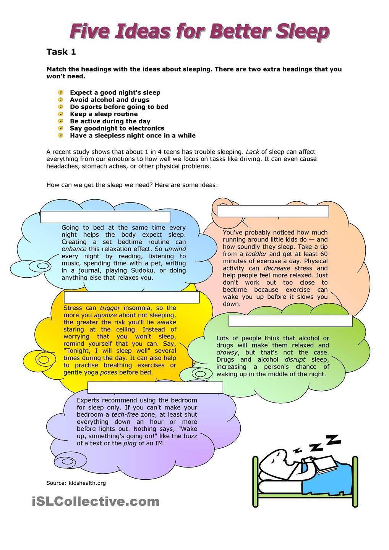 Five Ideas For Better Sleep Better Sleep Better Sleep Habits Reading Comprehension Activities