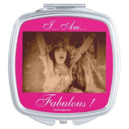 #I...Am... Fabulous! Art Deco Compact Vanity Mirror - #deco #gifts