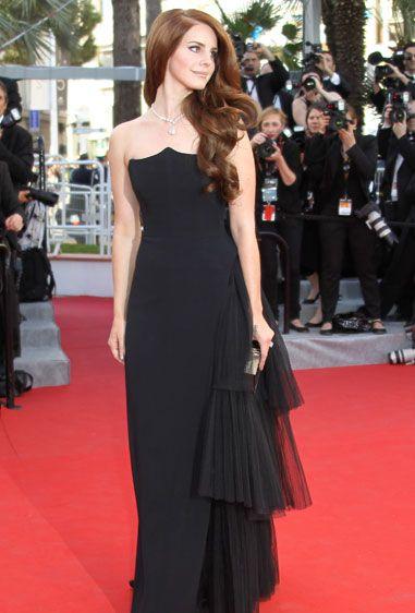 Cannes 2012. Lana Del Ray in Alberta Ferretti. Black. Tulle feature.