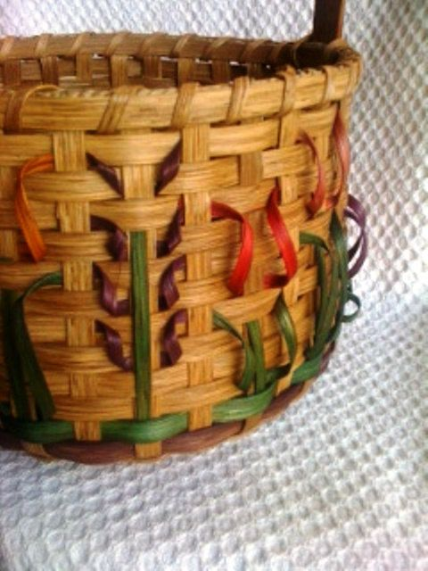 Spring Flowers Handwoven Basket With Wooden Base By