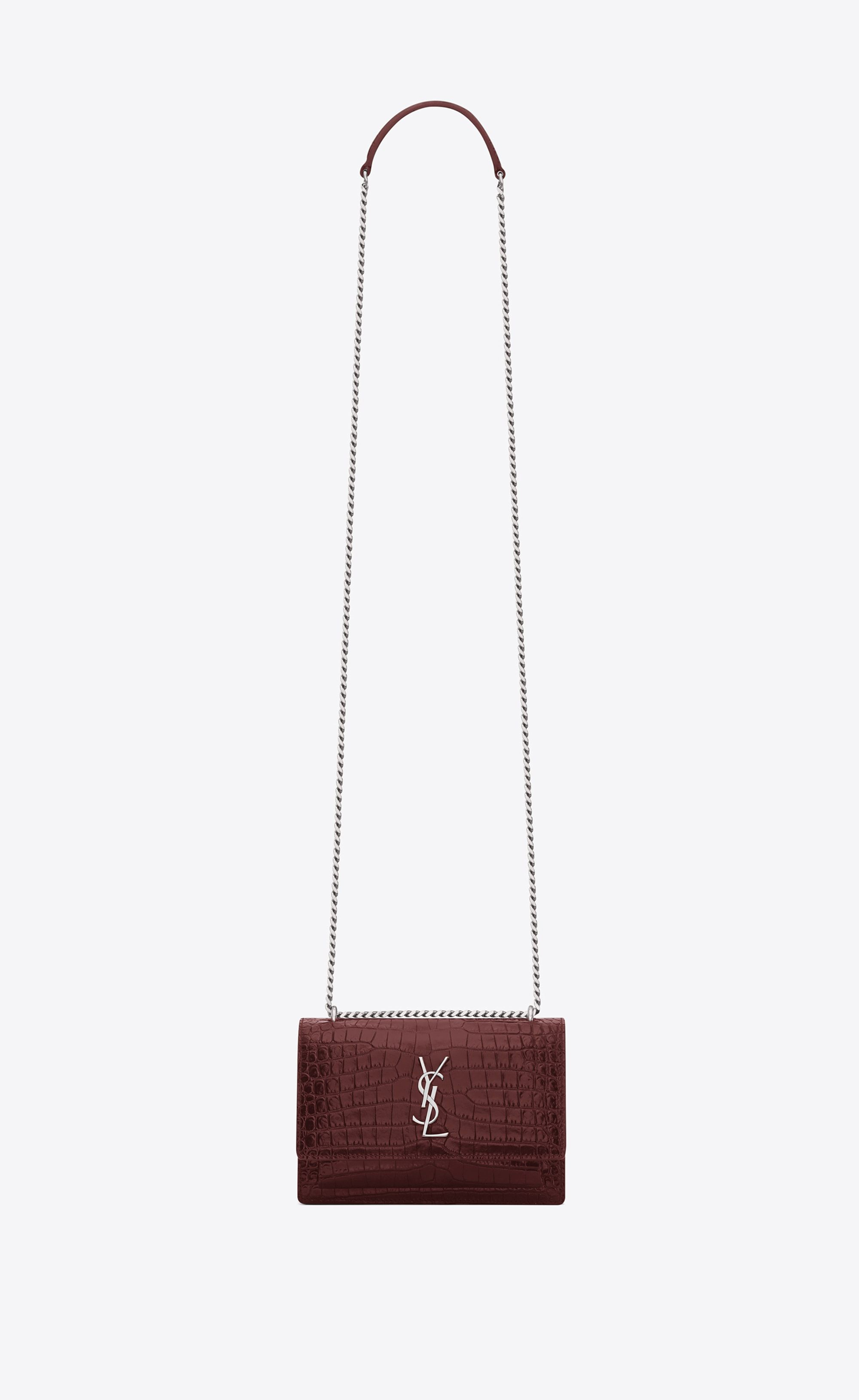 a9b9cd50b9d Saint Laurent Sunset Monogram Chain Wallet In Dark Red Crocodile Embossed  Leather | YSL.com