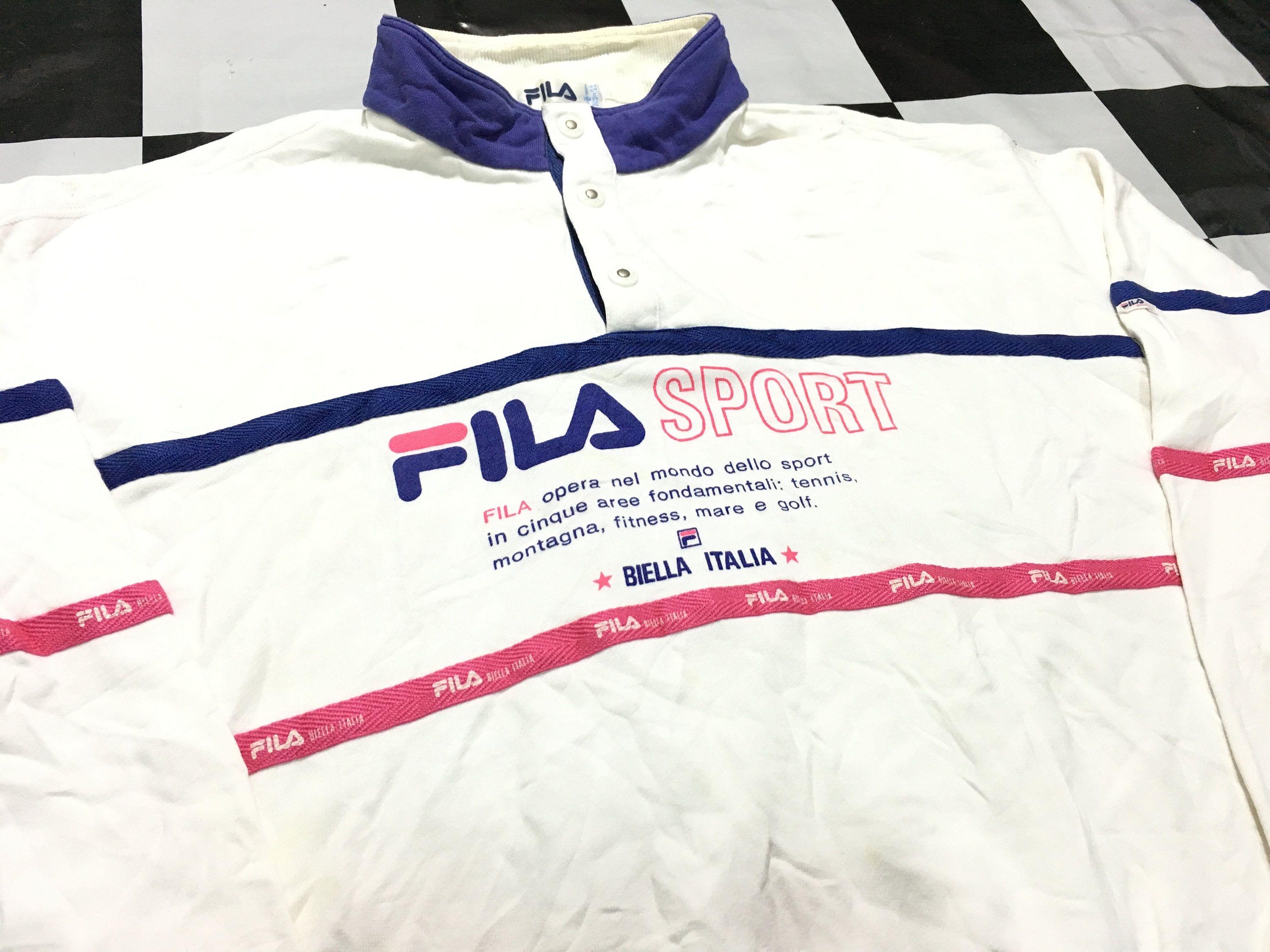 eee090cc89b2 Vintage Fila sport sweater half button up big logo striped spell out Size L  Fila biella italia by AlivevintageShop on Etsy