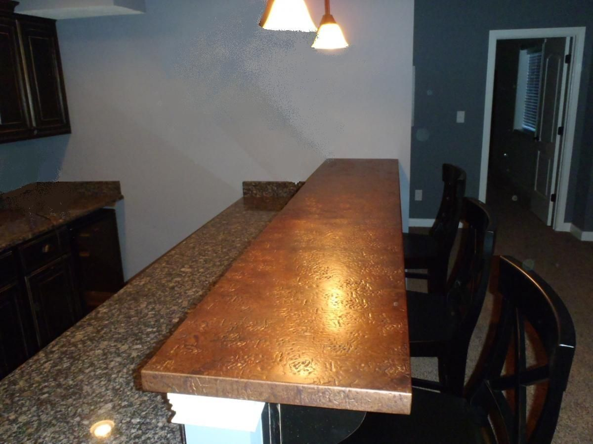 Copper Countertops   Kitchen, Bath U0026 Bar   Circle City Copperworks This Is  Awesome  Two Countertop Finishes!