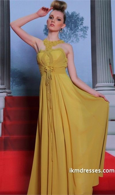 http://www.ikmdresses.com/2014-Sicilian-Style-High-Neck-Pleated-Bodice-Chiffon-Dress-p82980