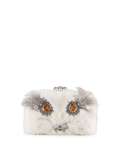 "V24MP Prada Mink Fur ""Cat Bag"" Clutch, White (Bianco)"