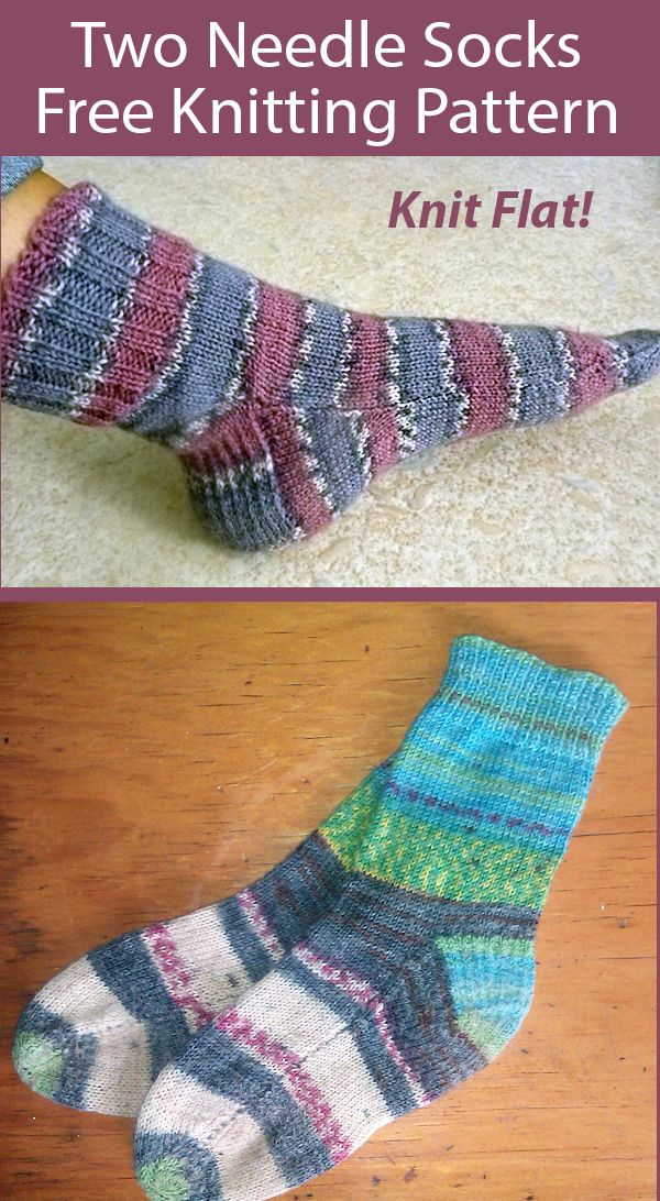Free Knitting Pattern for Two Needle Socks Knit Flat