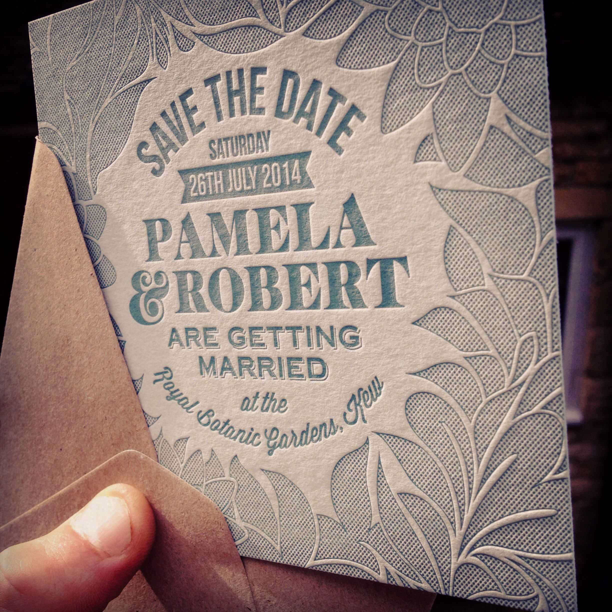 Bespoke Save the Date for a couple getting hitched at Kew, perfect!