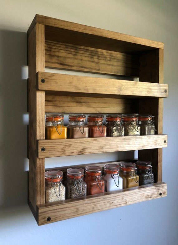 Wall Mounted Spice Rack Gift Item For Her Kitchen Spice Etsy Kitchen Spice Storage Wall Mounted Spice Rack Spice Rack Rustic