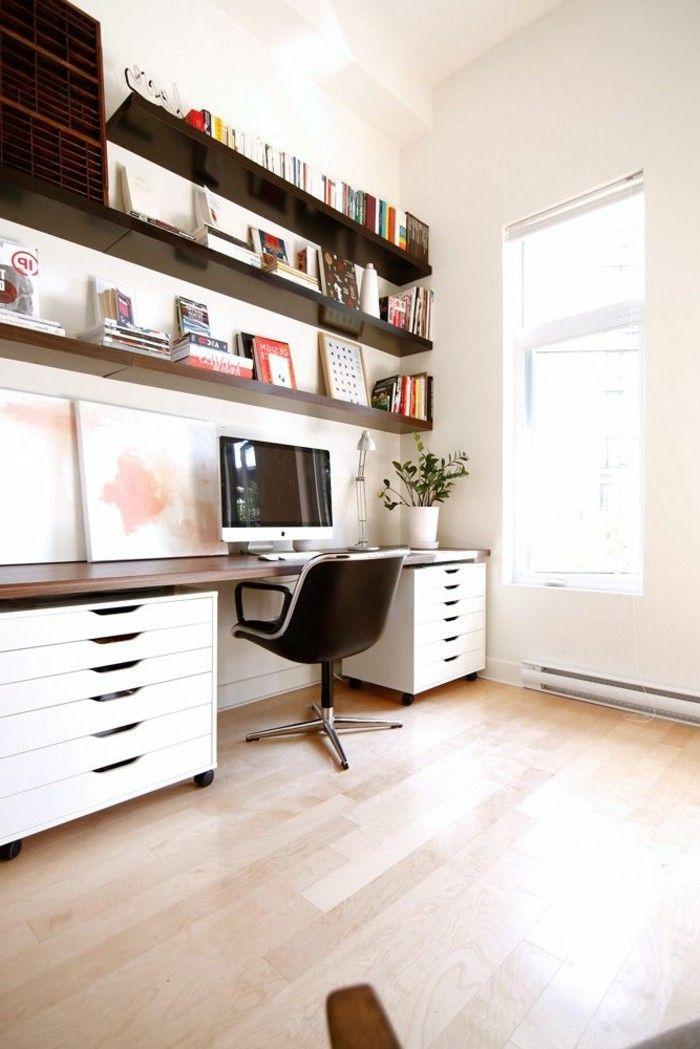schreibtisch holz design mit regalen EINRICHTUNGSIDEEN Pinterest - wohnzimmer schwarz weiss holz