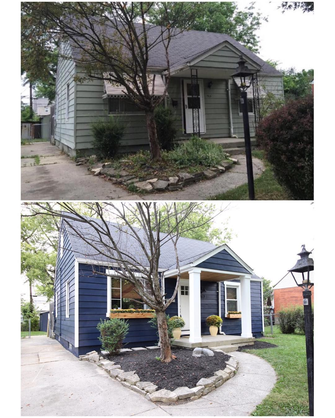 Before After Exterior Chesterfieldcottage Paint Sw Naval Home Exterior Makeover House Exterior Exterior Remodel