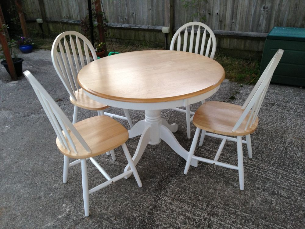 Beech round farmhouse style kitchen table and 4 chairs in