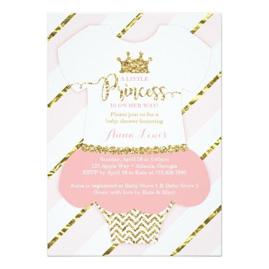 Little Princess Baby Shower Invite Faux Glitter Invitation Xaria