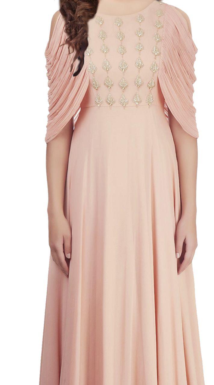 Beautiful Peach and Georgette indowestern Gown TK500839 -   11 gawn dress Indian ideas