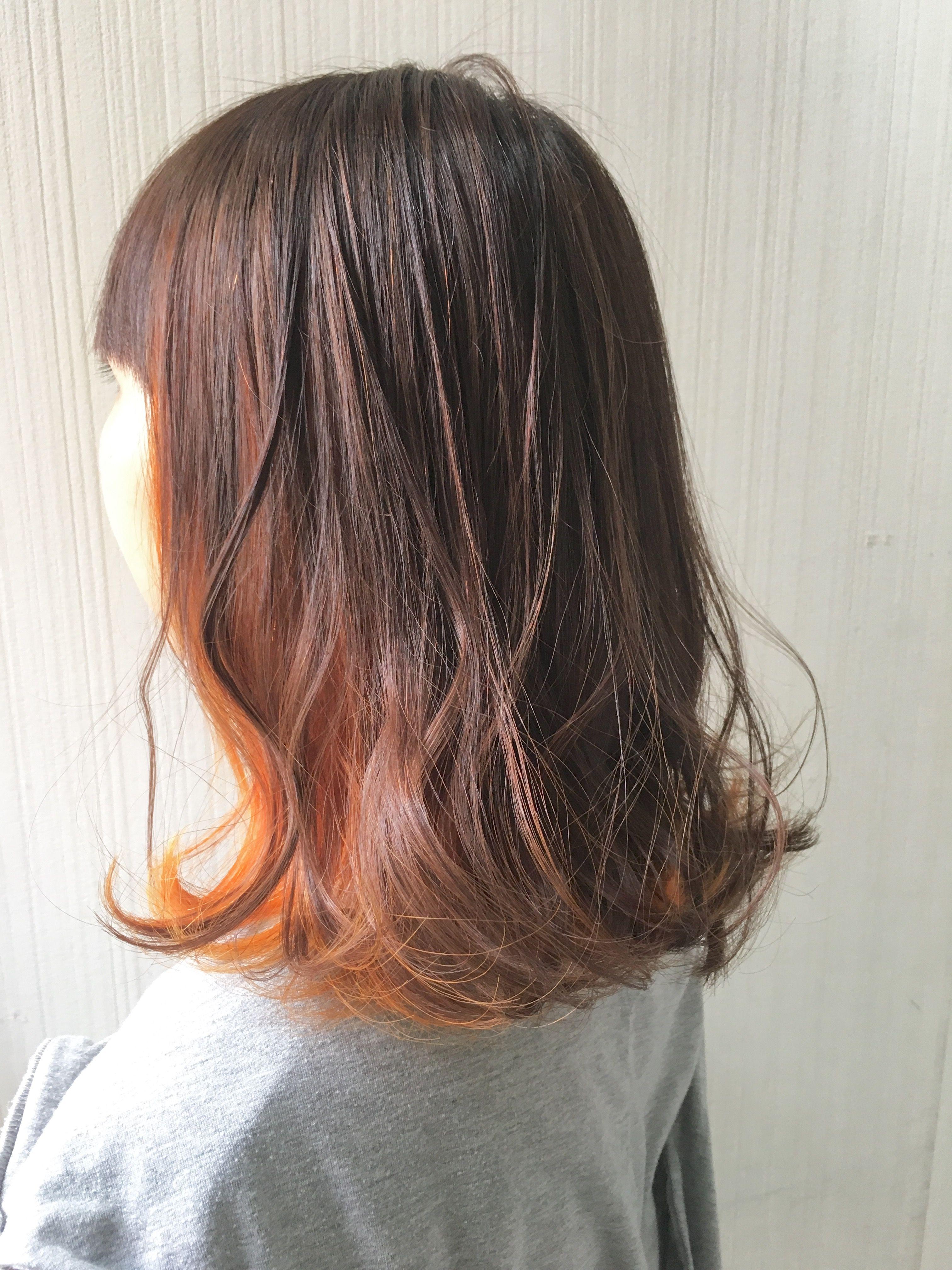 インナーカラー オレンジ ベージュ 髪色 オレンジ オレンジ ヘアカラー 髪 色