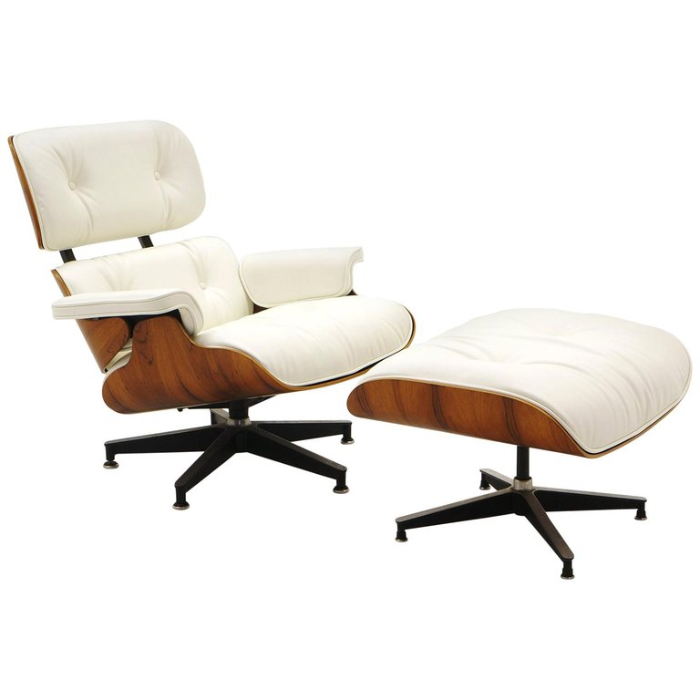 Lounge Chair And Ottoman Charles And Ray Eames Brazilian Rosewood White Leather White Eames Chair White Lounge Chair Chair And Ottoman