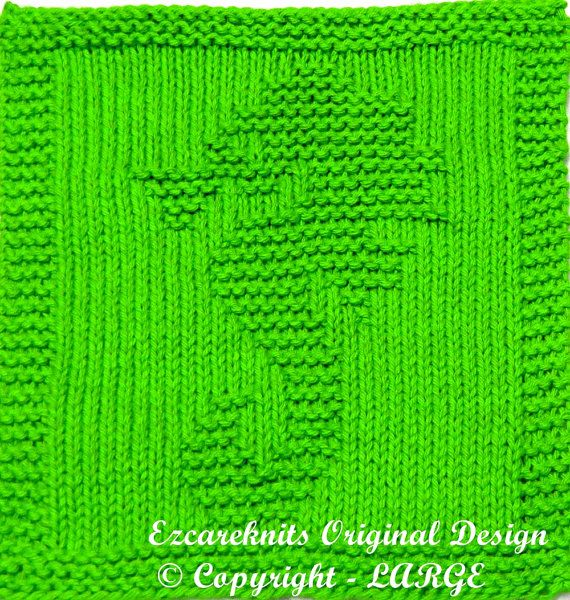 Baby Washcloths Knitting Patterns: Knitting Cloth Pattern LARGE SEAHORSE Instant By