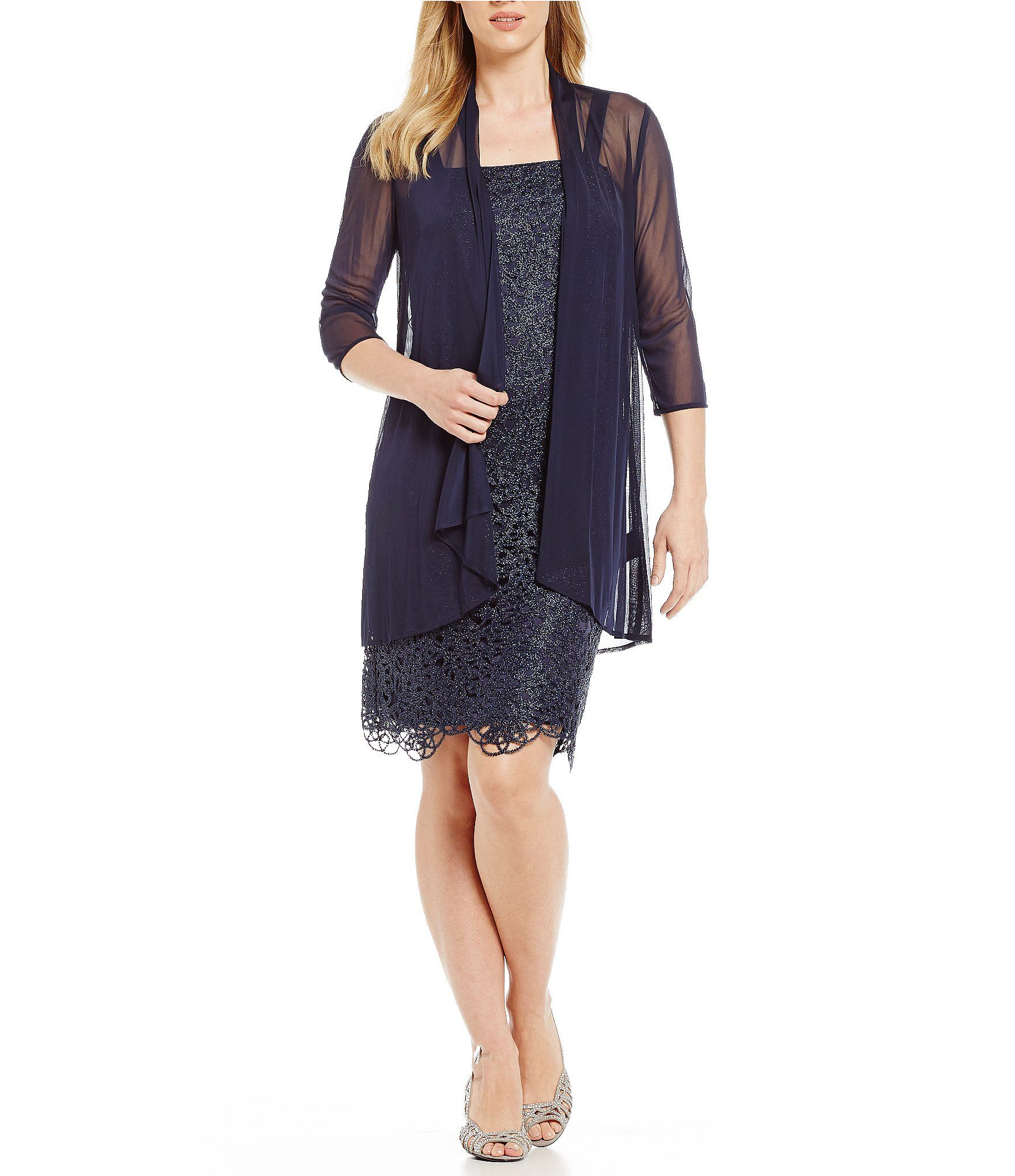 337c3cdb458 R   M Richards Petite Metallic Embroidered Lace Jacket Dress
