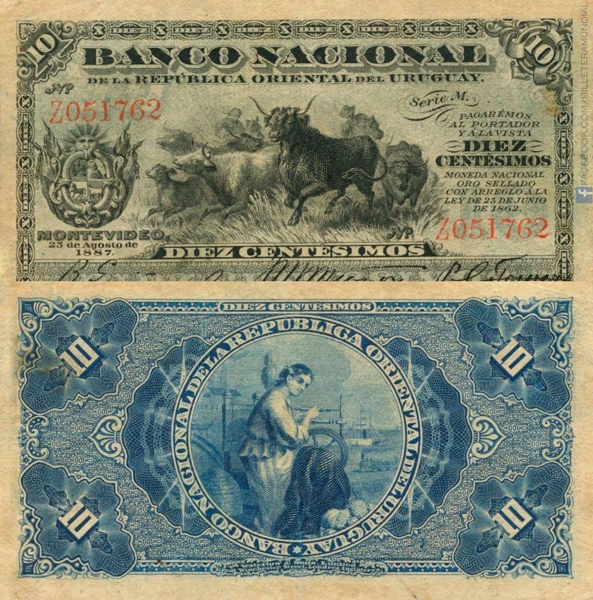 Uruguay 1887 10 Centesimos Banknote Uruguay Banknote