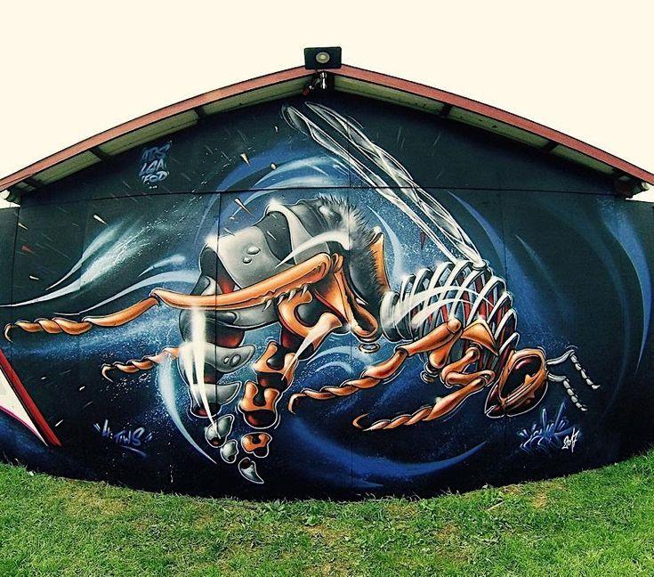Street Art Tiere leben an den Wänden im