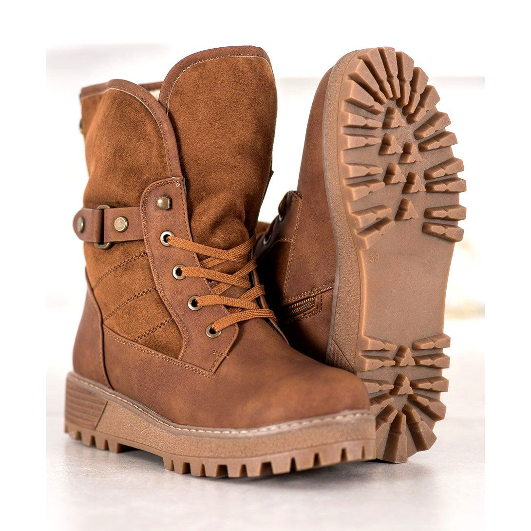Shelovet Sznurowane Botki Z Kozuszkiem Brazowe Diy Shoes Shoes Boots