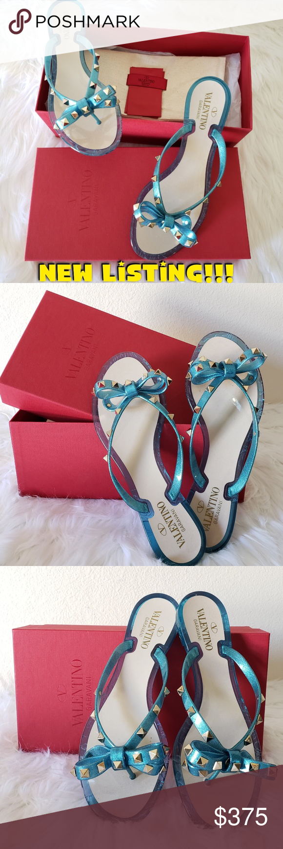 4114b20a7 AUTHENTIC VALENTINO ROCKSTUD JELLY THONG FLIPFLOP SIZE 39 ( US 8 ) Valentino  Garavani jelly PVC