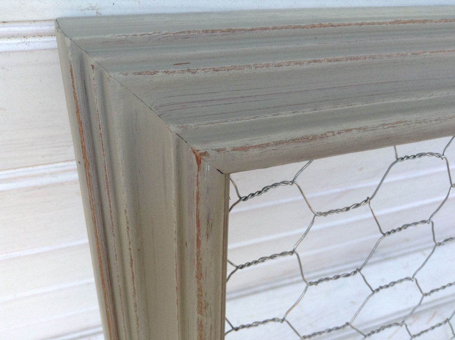 Gray Chalk Paint Chicken Wire Frame 18x23/ Shabby Chic / Upcycled ...