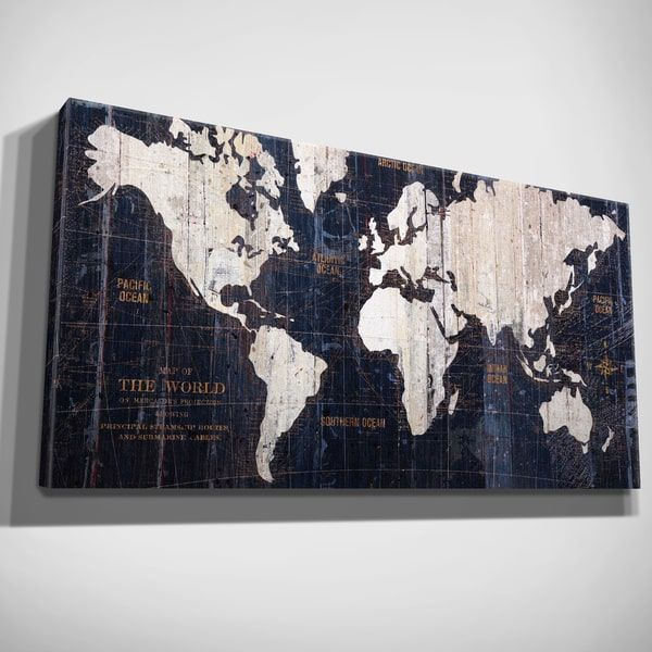 Hand embellished old world map blue canvas art art decor hand embellished old world map blue canvas art gumiabroncs Gallery