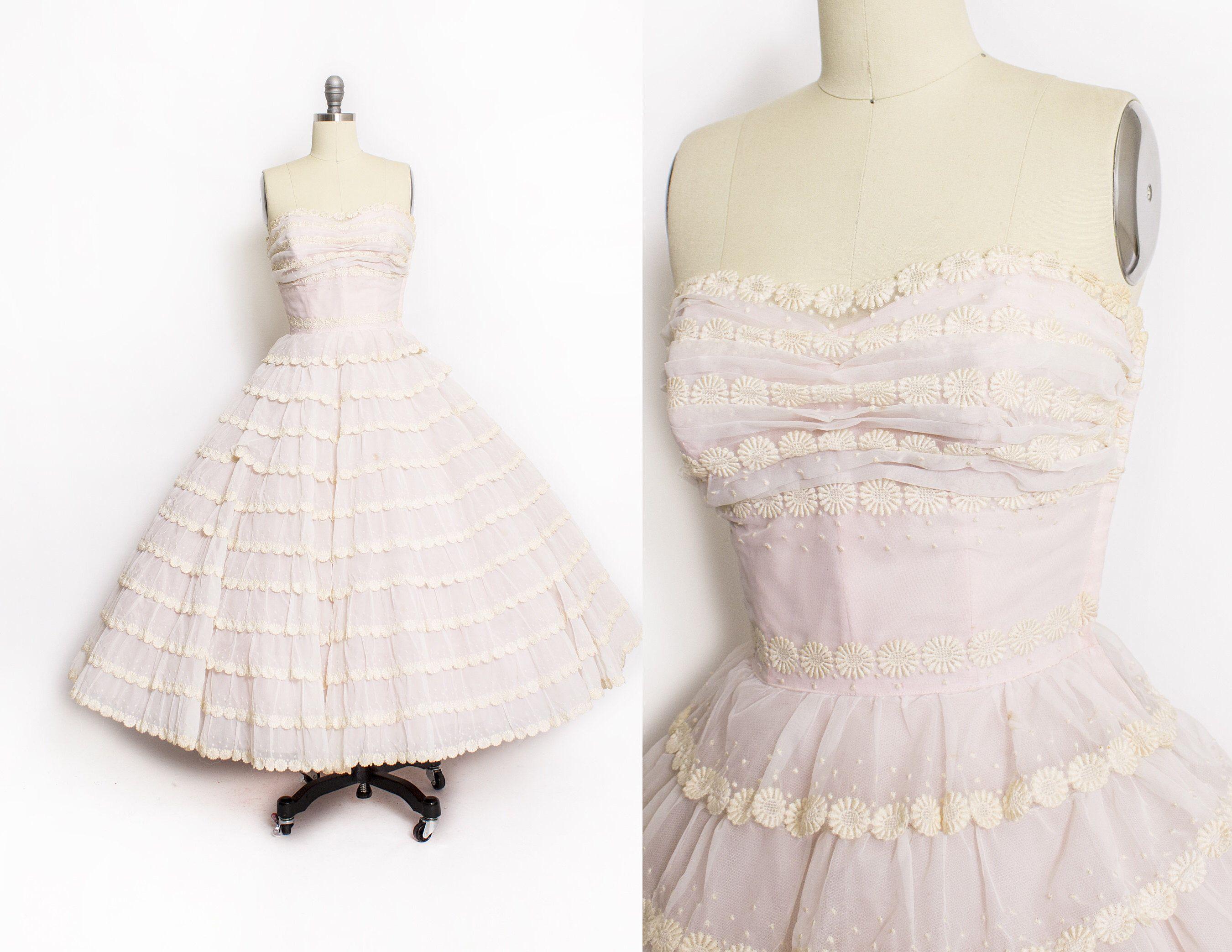 Vintage s dress pink chiffon floral swiss dot trim ruffled